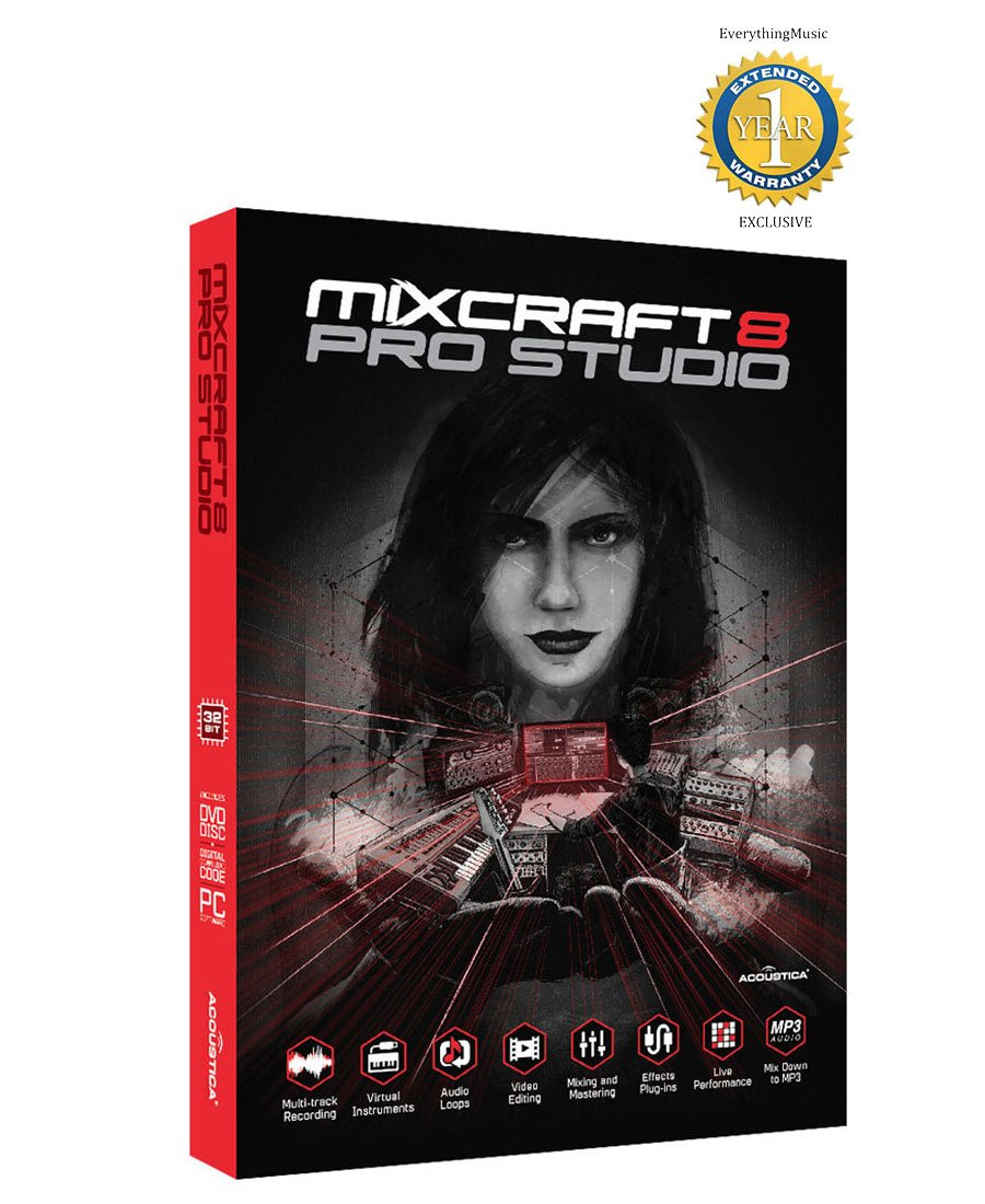 Acoustica Mixcraft 8 Pro Studio Music Production Software Retail with 1 Year Free Extended Waranty Mixcraft 8 Pro Studio Retail