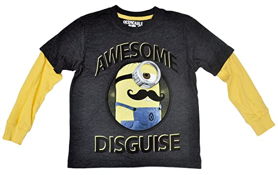 4e743858e Minions Boys T-shirt & Beanie Hat 2pc Set Long Sleeves Awesome Disguise (XS