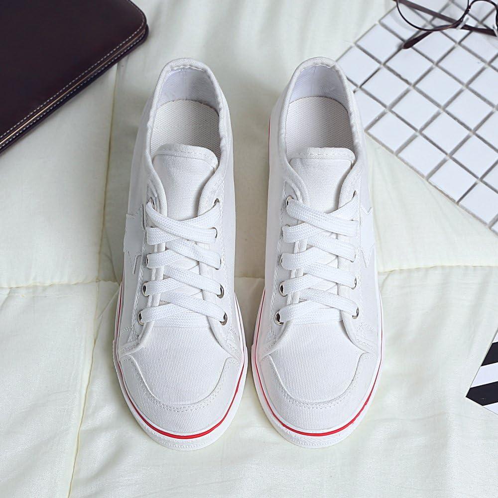 Femme Baskets Mode En Toile Talon Compensé Chaussures De Sport Fermeture Lacets 3 Blanc
