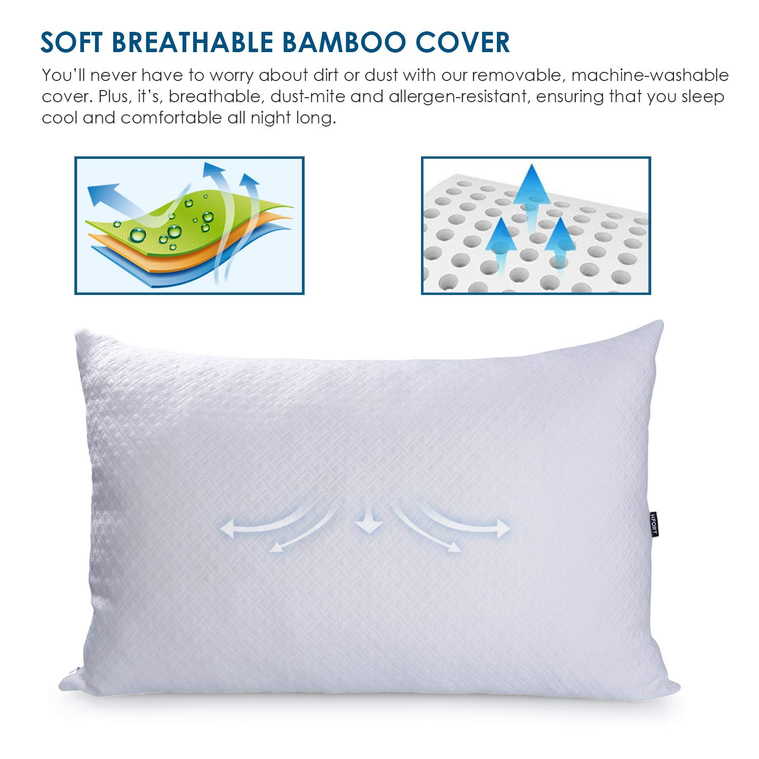 HIFORT Shredded Memory Foam Cooling Pillow - Queen Bed Pillows for Sleeping with Hypoallergenic Removable Bamboo Cover - Hotel Quality Adjustable Loft for Stomach Back and Side Sleeper
