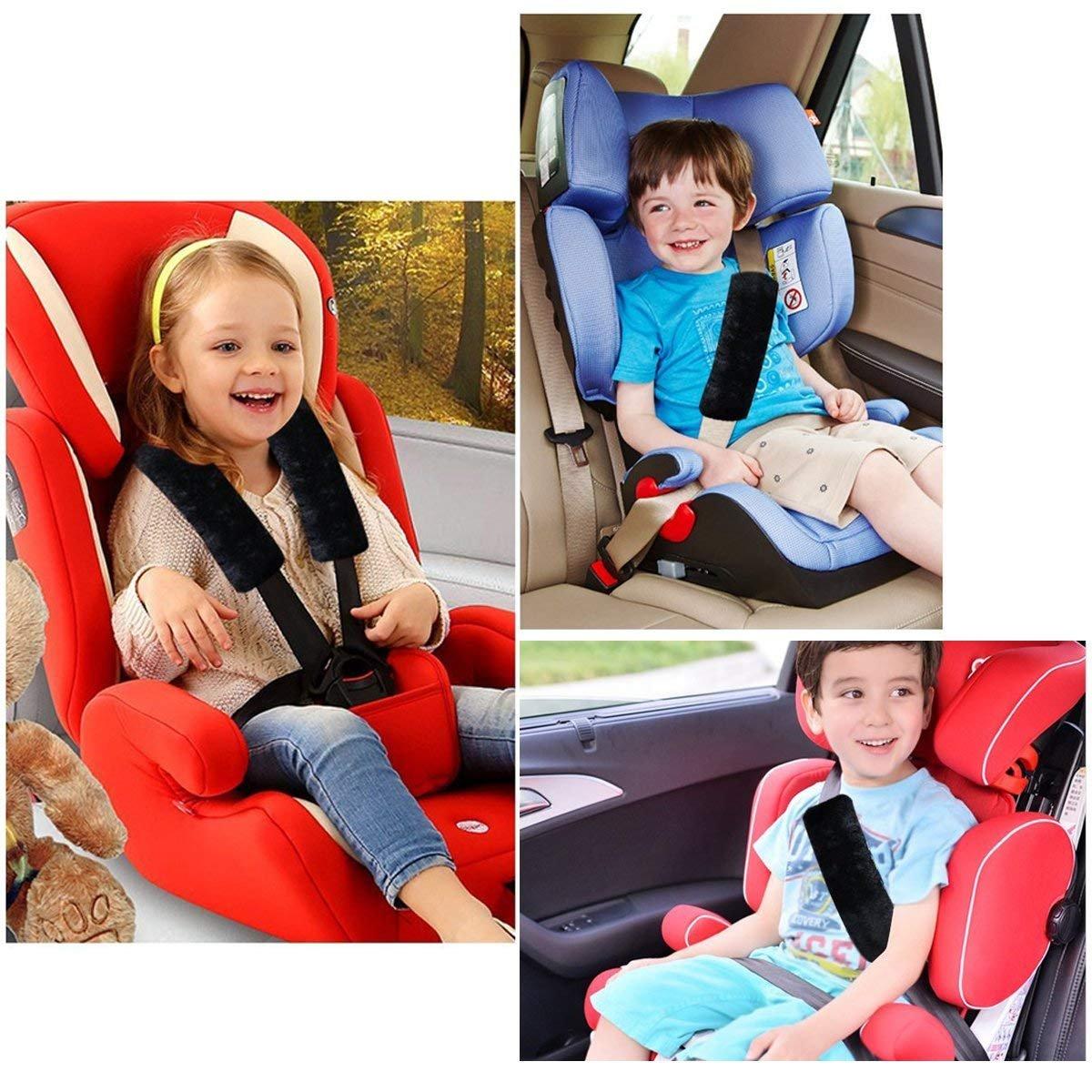 Backpack HEQUN 2 Pack Soft Faux Sheepskin Plush Car Safety Seat Belt Strap Shoulder Pad Shoulder Bag Suitable for Car Seat Belt Seat Belt Shoulder Pad gray