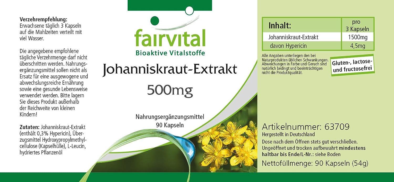 Extracto de hierba de San Juan - para 1 mes - VEGANO - Alta dosificación - 90 cápsulas - normalizada a 0,3% de hipericina: Amazon.es: Salud y cuidado ...