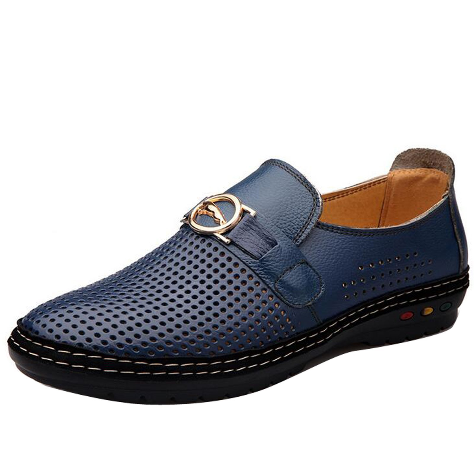 Gaorui Mens Hollow Out Business Dress Formal Leather Shoe Summer Casual Loafers Sandals