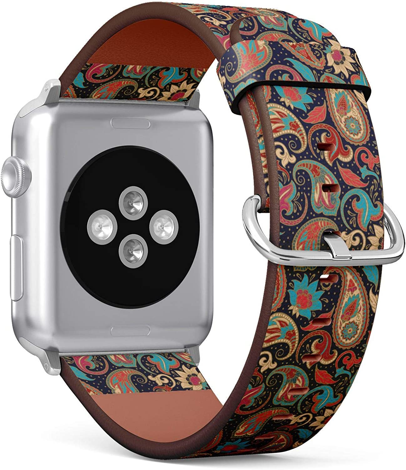 (Decorative Pattern of Ethnic Paisley) Patterned Leather Wristband Strap for Apple Watch Series 4/3/2/1 gen,Replacement for iWatch 38mm / 40mm Bands