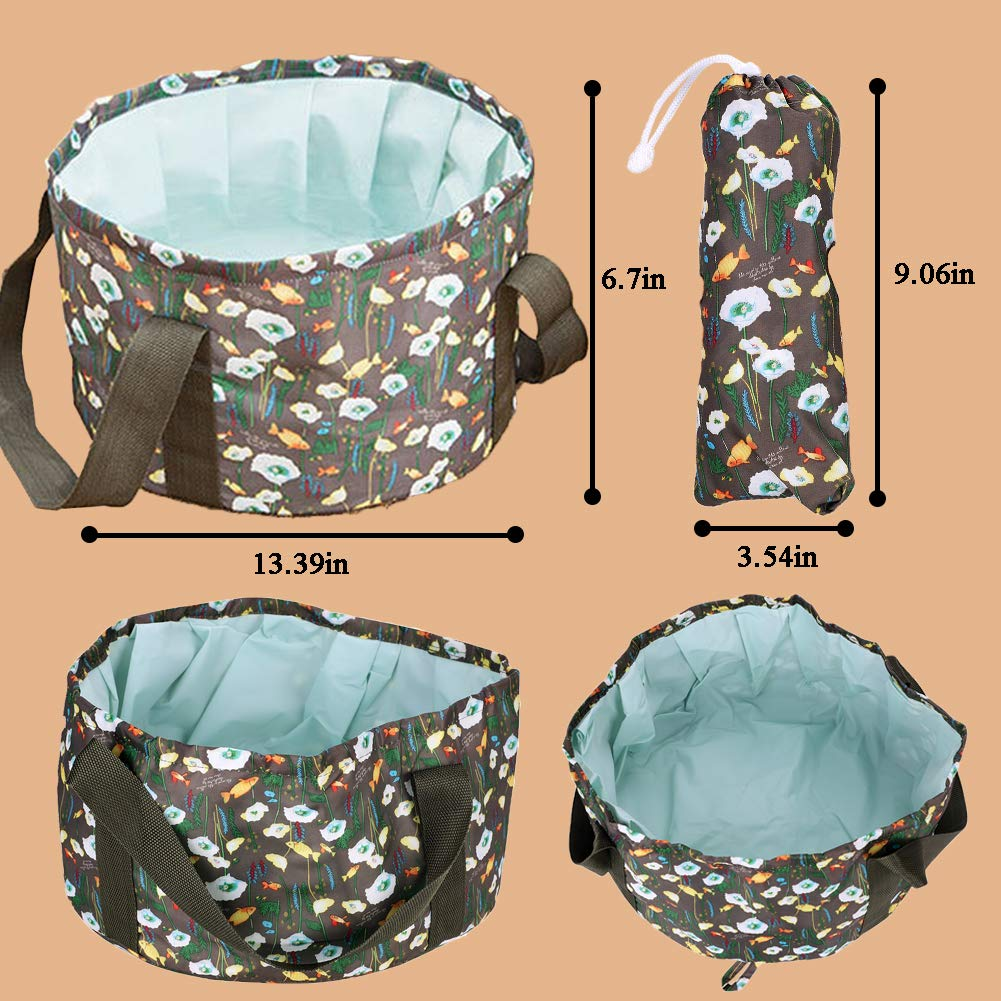 IBLUELOVER Portable Folding Basin Lightweight Travel Outdoor Wash Collapsible Bucket Multifunctional Foldable Washbasin Water Storage Pouch Container Bowl for Traveling Camping Hiking Fishing Beach