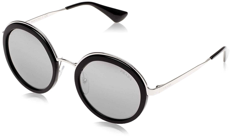 9f9872f15fa ... clearance amazon prada pr50ts 1ab6n2 black pr50ts round sunglasses lens  category 3 lens mirrored prada clothing