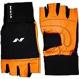 Nivia Leather Gym Glove with Wrist Wrap, Large (Orange)