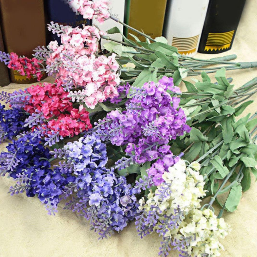 Sukisuki 10 Heads 1 Bouquet Faux Silk Lavender Fake Flower Home Decor White