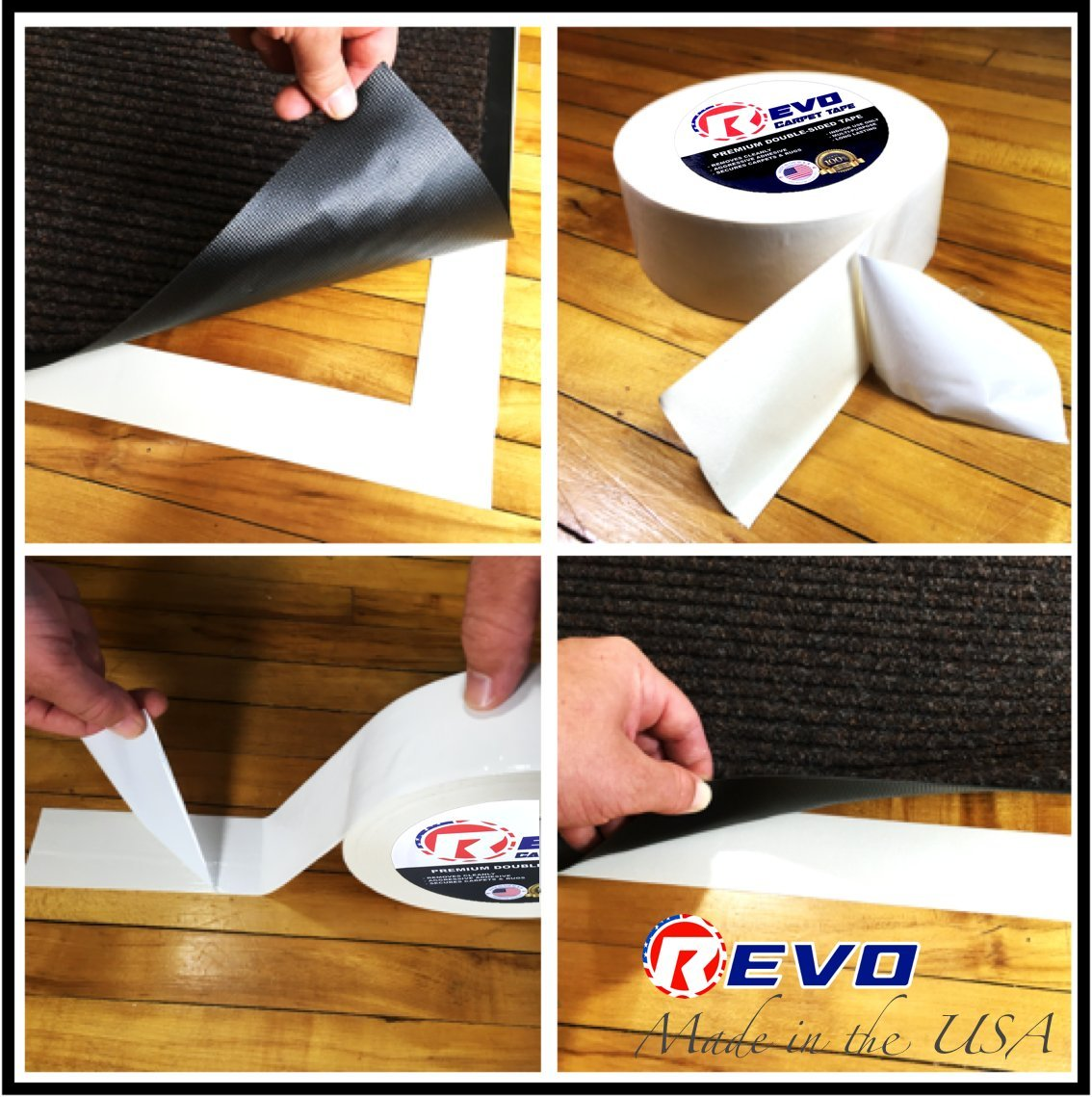 REVO Double Sided Carpet Tape (1.5'' x 36 yards) MADE IN USA - Aggressive Rubber Adhesive - Long lasting - Double Sided Tape - Professional Quality by Impact (Image #2)