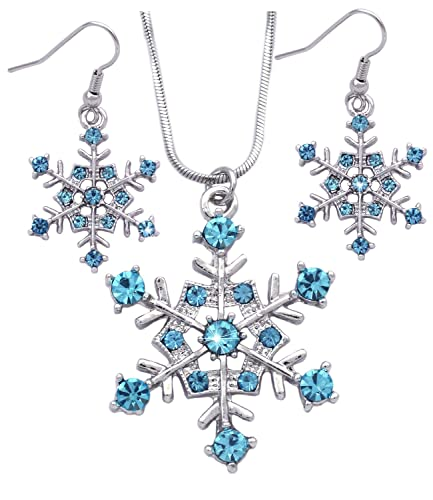 2662a2937 Winter Snow Snowflake Wedding Bridesmaid Pendant Necklace Earrings Jewelry  Set (Aqua)