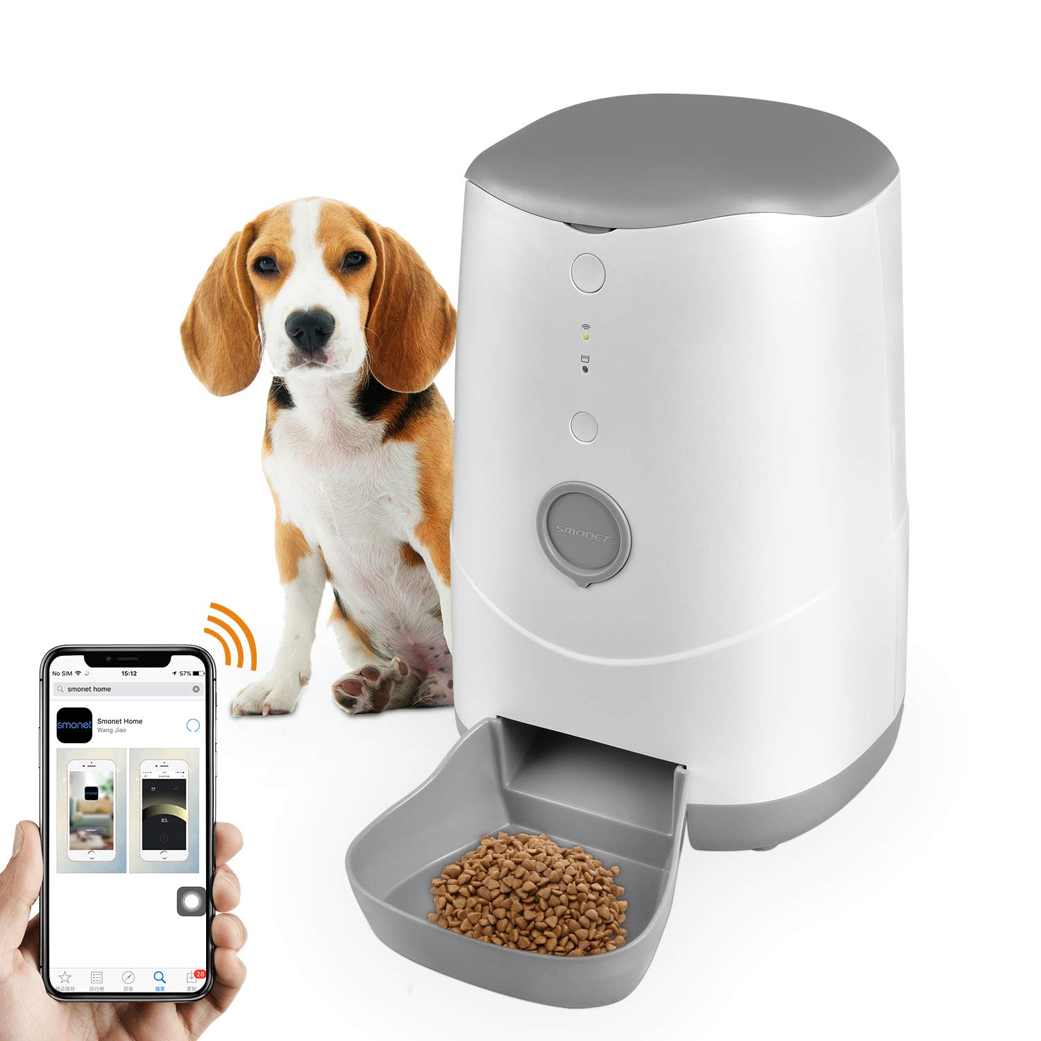 SMONET Automatic Pet Feeder Food Dispenser for Dogs, Cats, 3.7L Large Capacity, Free App Support iPhone&Android,Easy to Clean by SMONET