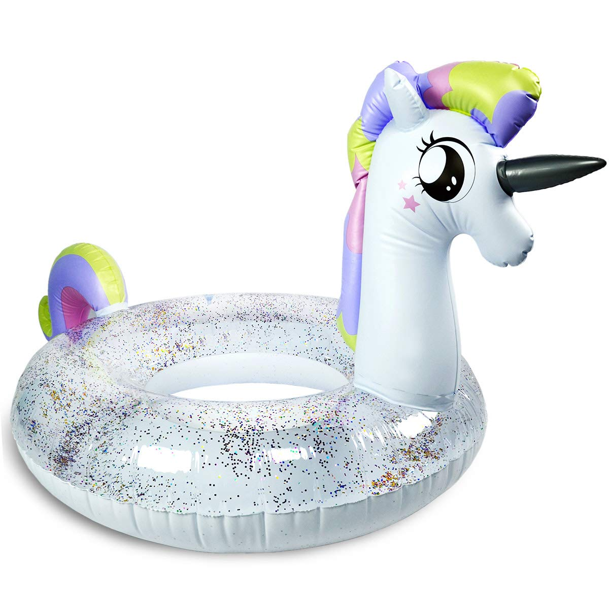 739f4df40de4 Unicorn Pool Floats for Kids - Children's Swim Ring - Inflatable Tube with  Glitters Inside, Small