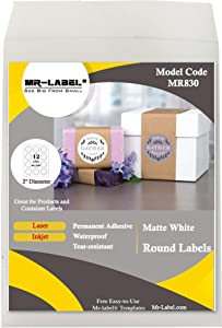 "Mr-Label 2"" Round White Sticker Label - Waterproof and Tear-Resistant - for Inkjet & Laser Printer - for Food Package 