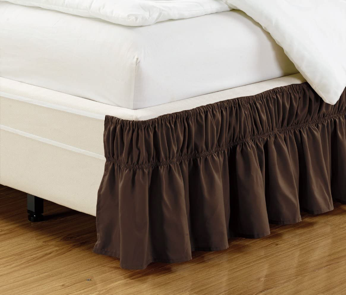 """Fancy Collection Queen - King Easy Fit Bed Ruffle wrap Around Elastic Bed Skirt With 17"""" Drop New Easy Install Solid Brown/ Coffee New"""