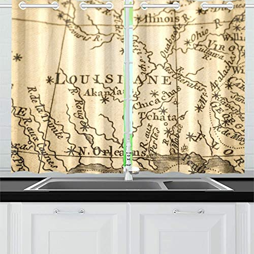 ENEVOTX Old Map America New Orleans Kitchen Curtains Window Curtain Tiers for Caf , Bath, Laundry, Living Room Bedroom 26 X 39 Inch 2 Pieces