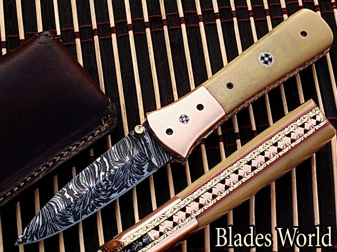 Taschenmesser Damaszener-Stahl 20,3cm klappbar mit kanadischem Micarta-Holz & Massiver Kupfer-Zwinge mit Mosaikpin-Griff (BDM-774)