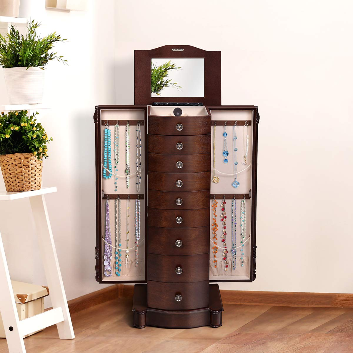 Giantex Large Jewelry Armoire Cabinet with 8 Drawers & 2 ...