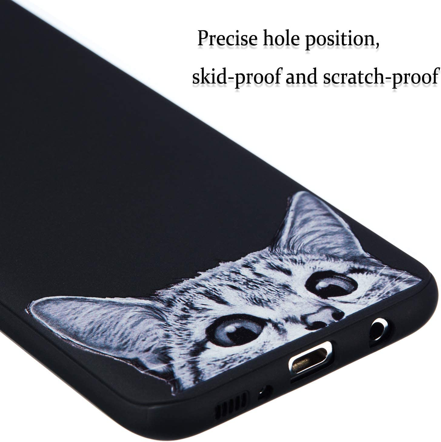 Artfeel Noir Souple Silicone Coque pour Samsung Galaxy S8,Charmant Chat Dessin anim/é Motif Ultra Mince L/éger Arri/ère /Étui,Flexible TPU Pare-Chocs Antichoc Housse