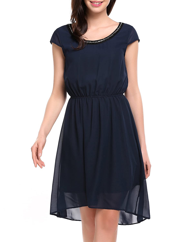 Zeagoo Damen Abendkleid Partykleid Strass Kette Asymmetrisch Tunika Chiffon mit Futter Elastisch Casual Sommer Party