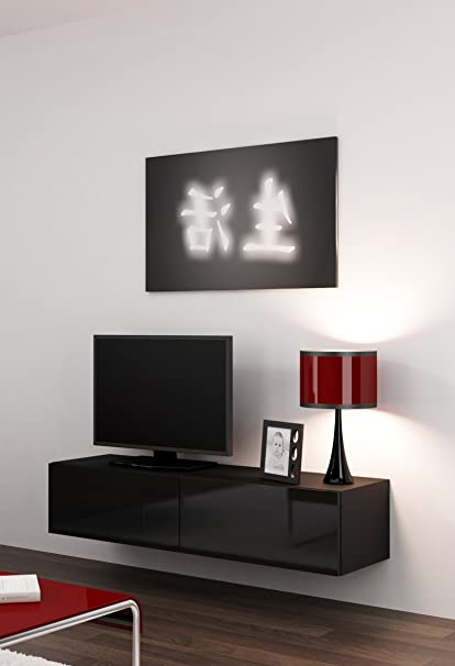 High Gloss TV Stand Cabinet Wall Mountable Grey Floating Entertainment Unit 140cm