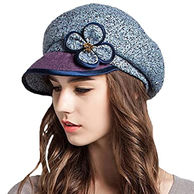 Maitose Women s Wool Peaked Cap Beret Blue at Amazon Women s ... 863e29a15a