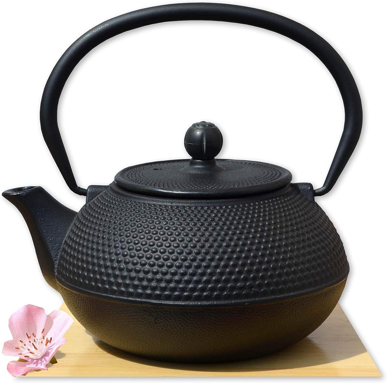 Gifts Of The Orient - Tetera japonesa de hierro fundido Tetsubin (11x12,5x12,5cm, 0,6L), color negro
