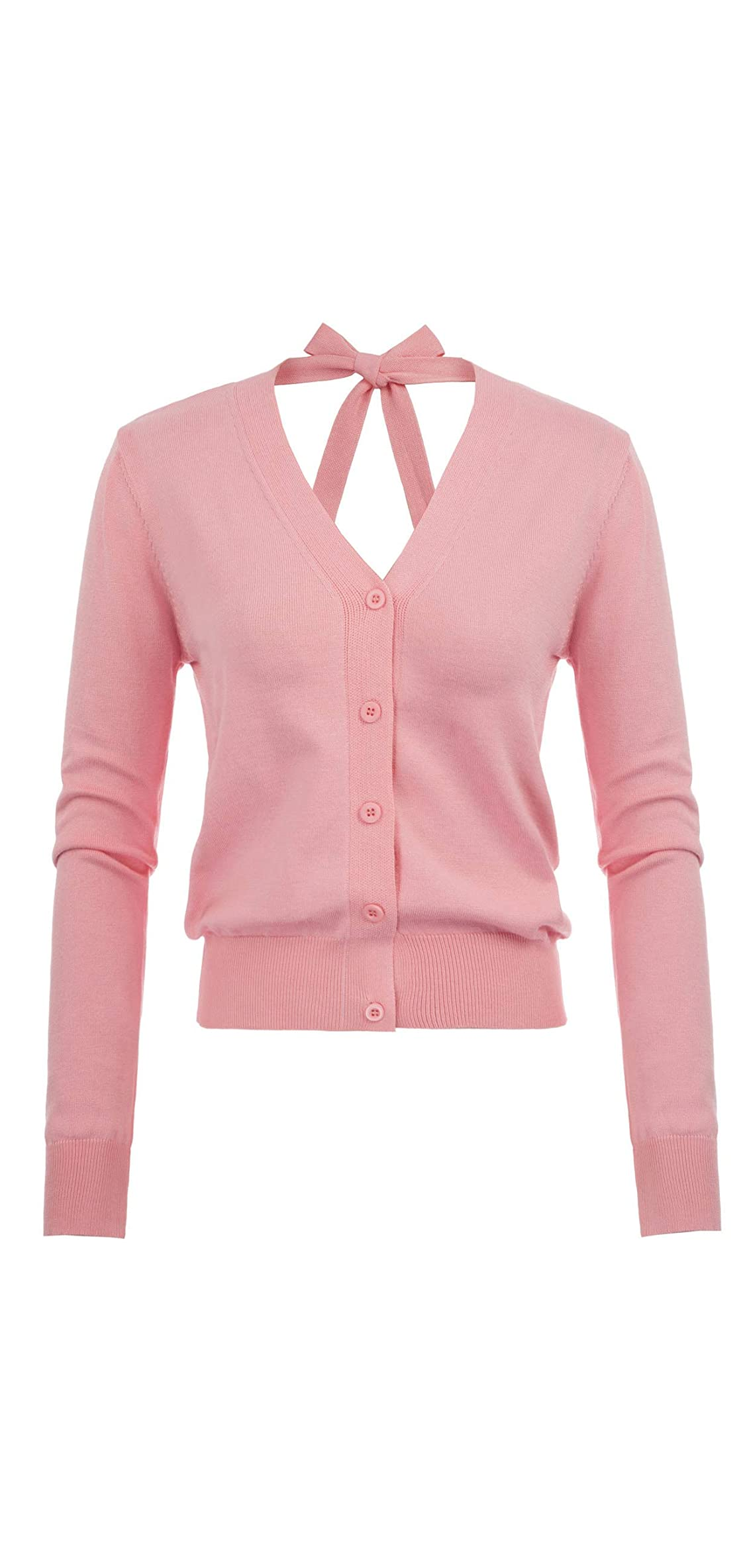 Women's V-neck Back Bow-knot Button Down Open Front