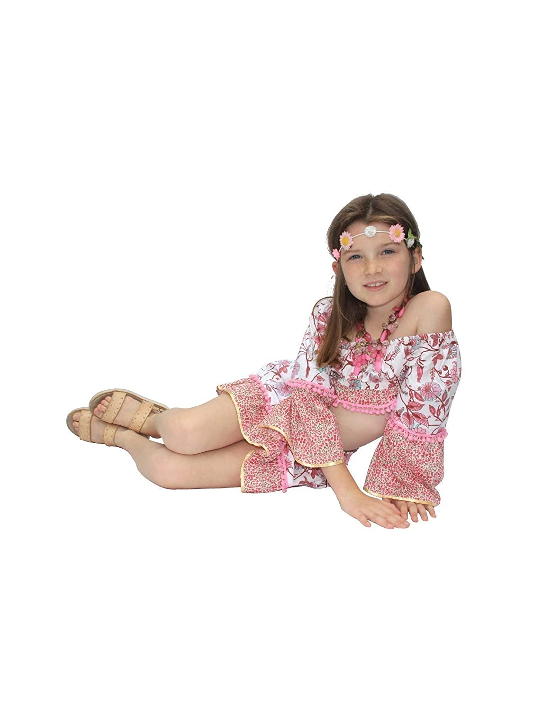 Azul Little Girls Pink Boho Chic Pom-Pom Adorned Drawstring Tie Skirt 4-7