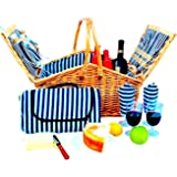 Picnic Basket Set for Men and Woman | Wicker Picnic Basket for 4 Person | Waterproof Picnic Blanket Ceramic Plates Metal Flatware Wine Glasses S/P Shakers Bottle Opener Blue Stripe Lining Kids Picnic