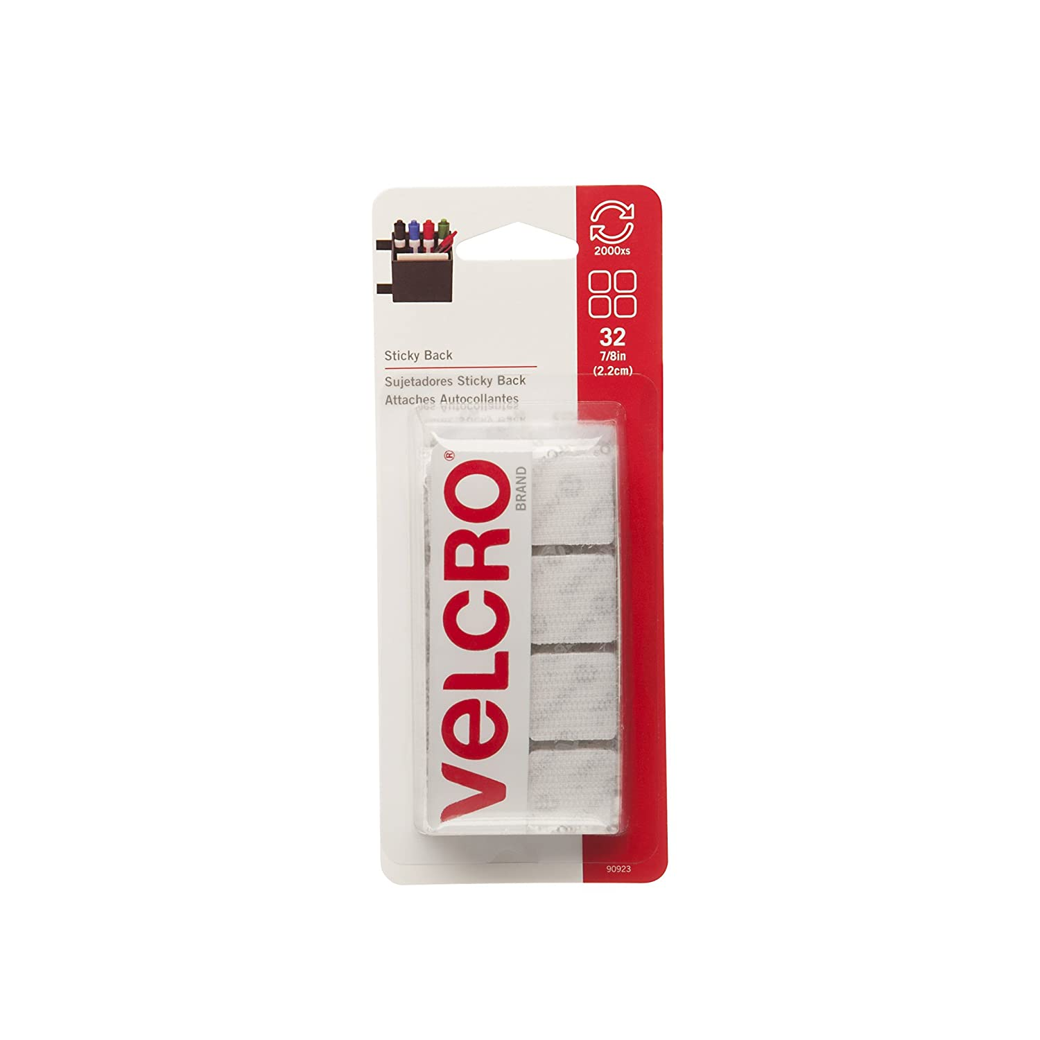 VELCRO Brand Sticky Back | Hook and Loop Fasteners | Keep Things Organized and Connected | 7/8in | 32 Squares, White VELCRO® Brand 90923