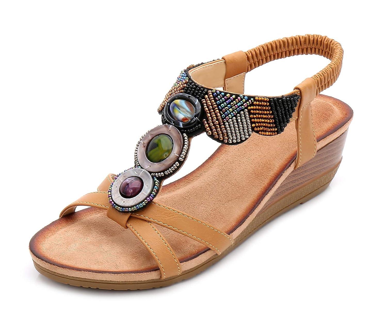 Fortuning s de JDS® Femmes Rétro Chaussures Ouvert B01N9Q5SVM d été Strass de Bohème Perlé Sandales Compensées à Bout Ouvert Kaki 9a99feb - robotanarchy.space