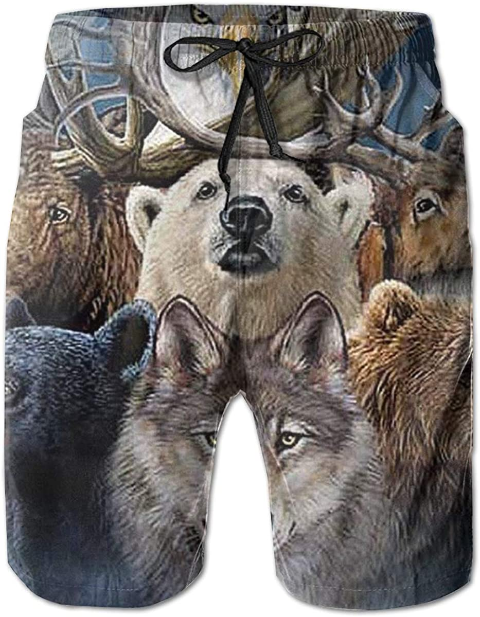 Galaxy Voyage Bald Eagle Bear Wolf Boy Mens Swim Trunks Surf Pants 3D Swimming Trunks Board Shorts for Men
