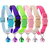 Safety Cat Collar Set Breakaway 6PCS with Bell for Kitty