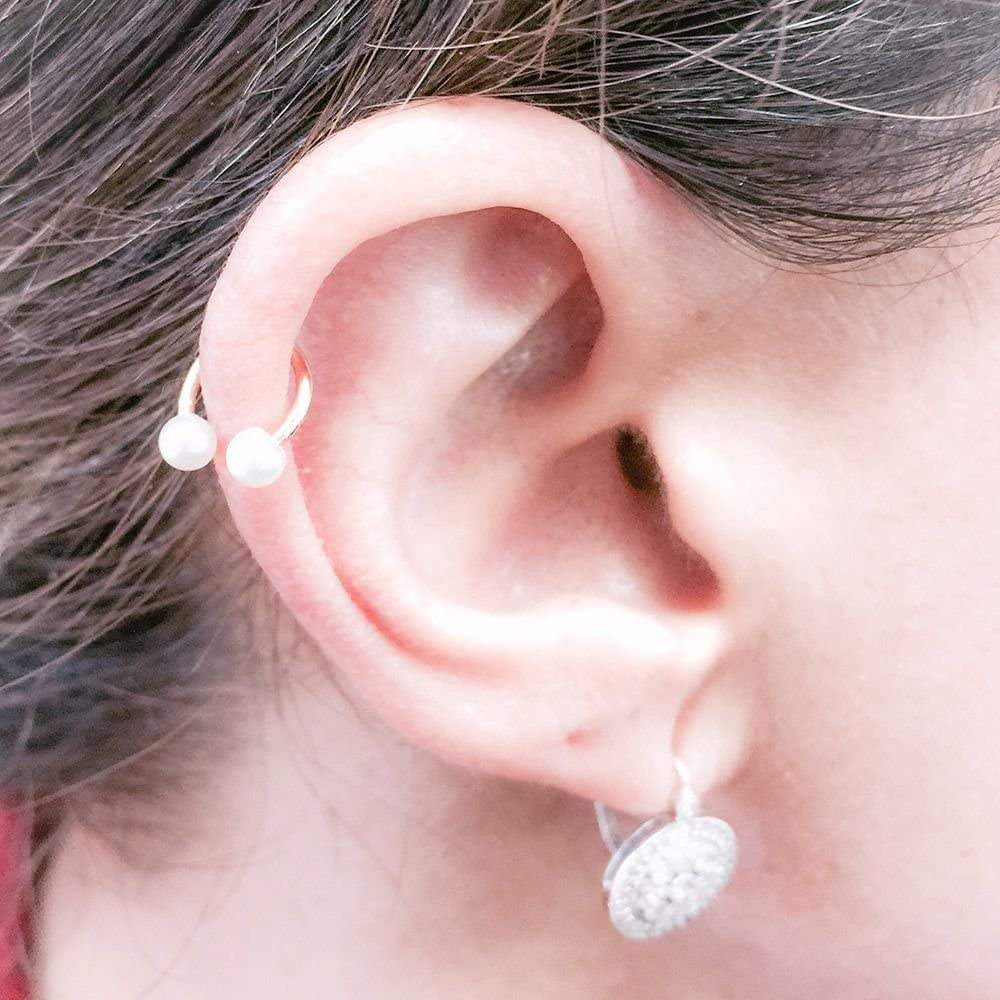 5mm Chinese Freshwater CulturedPearl 14K Rose Gold Circular Barbell 14G 1//2
