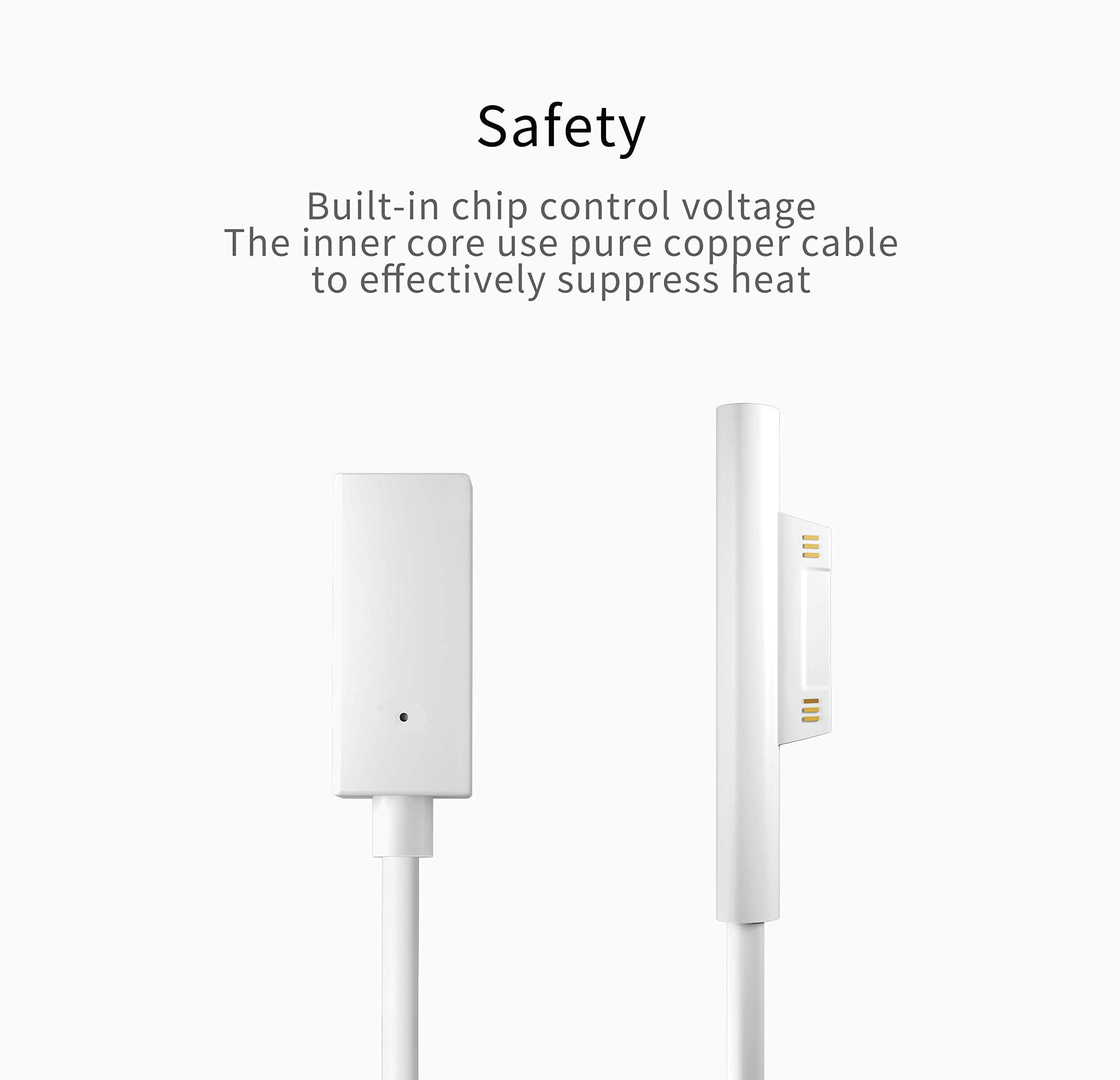 Sisyphy Surface PD Charger Cable, Connect to Female USB-C Connector White, Works with a 45W 15V USBC PD Charger and a USBC to USBC Cable for Microsoft Surface pro6 pro5 pro4 pro3 Laptop Book