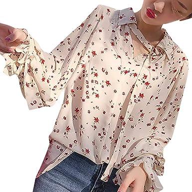 Camisa Larga Mujer Tops Deportivos Fiesta Sexy Camiseta Casual para con Cuello En V Blusa Manga Blusa Estampada: Amazon.es: Ropa y accesorios
