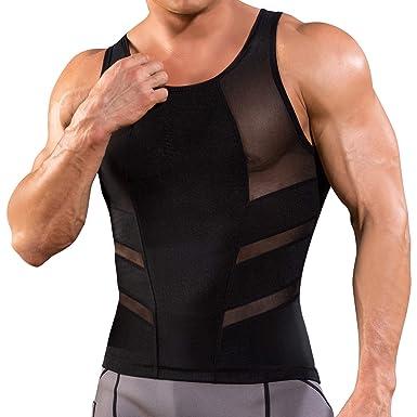 96732a3e58 Junlan Debardeur Gainant Homme Ventre Plat Gaine Amincissante Abdo Minceur  Shirt Compression Forte (Black,