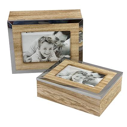 2 piezas Caja de almacenamiento con marco, cajas de madera, bordes de la cubierta