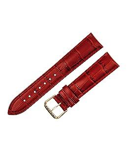 Correa de reloj de piel de cocodrilo RECHERE con hebilla de color oro rosa