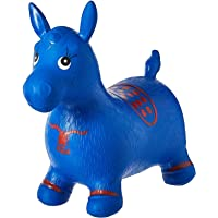 Outdoors and Indoor Ride on Bouncy Inflatable Hopper Plush Covered Horse, Animal Play Toys for Kids and Toddlers, 2-5 Years (Blue)