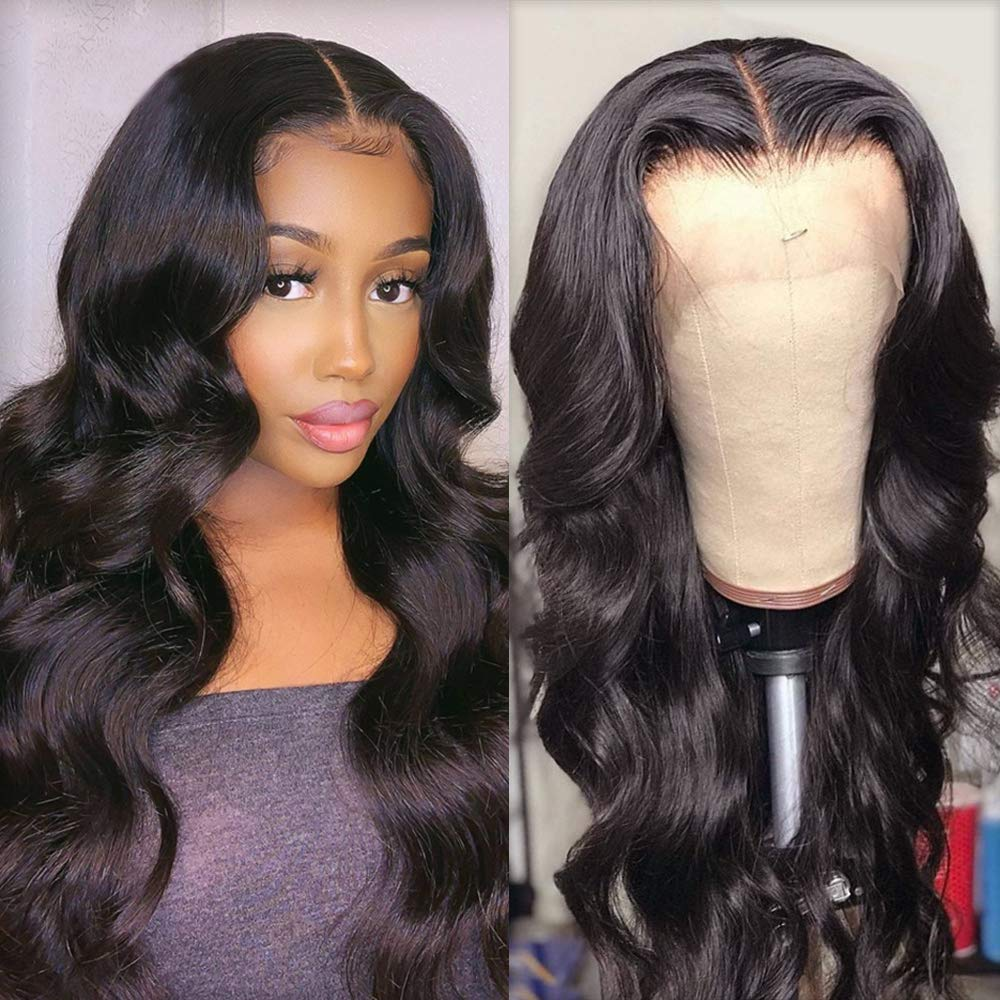 Glueless Synthetic Hair Lace Front Wigs for Black Women Long Natural Wavy Wave Lace front Wig with Baby Hair Natura Hairline Heat Resistant Fiber Synthetic Hair Lace Wigs Cheap Half Lace Wigs