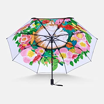 Estilo chino paraguas claro gato pintado a mano paraguas plástico negro  protección solar sombrillas pequeñas paraguas e5a27811509