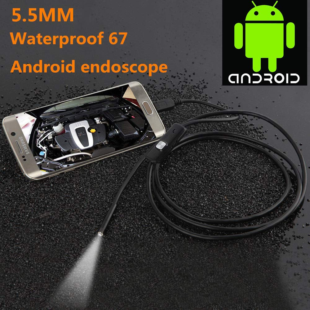 Cable length USB Endoscope MASO 5.5MM 2 in 1 IP67 Waterproof Borescope Inspection Camera with 6 Led and 5.5M Snake Cable USB Adapter for Android Phone Tablet Device 3.5M