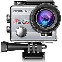Campark ACT74 Caméra Sport 4K/1080P WiFi 16MP Ultra HD Caméra d'action Etanche 30M, 170 °Grand-Angle, 2 Pouces LCD, avec 2 Batterie et inclut des Kits Complets d'Accessoires (Argent)