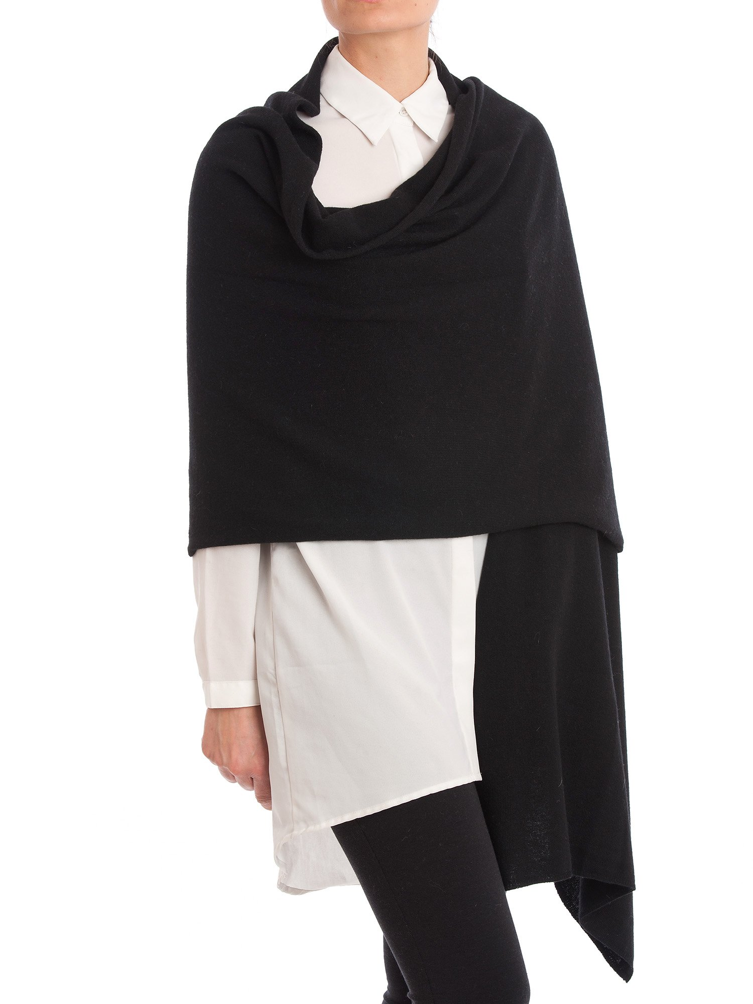 Dalle Piane Cashmere - Stole cashmere blend - Made in Italy, Color: Black, One Size