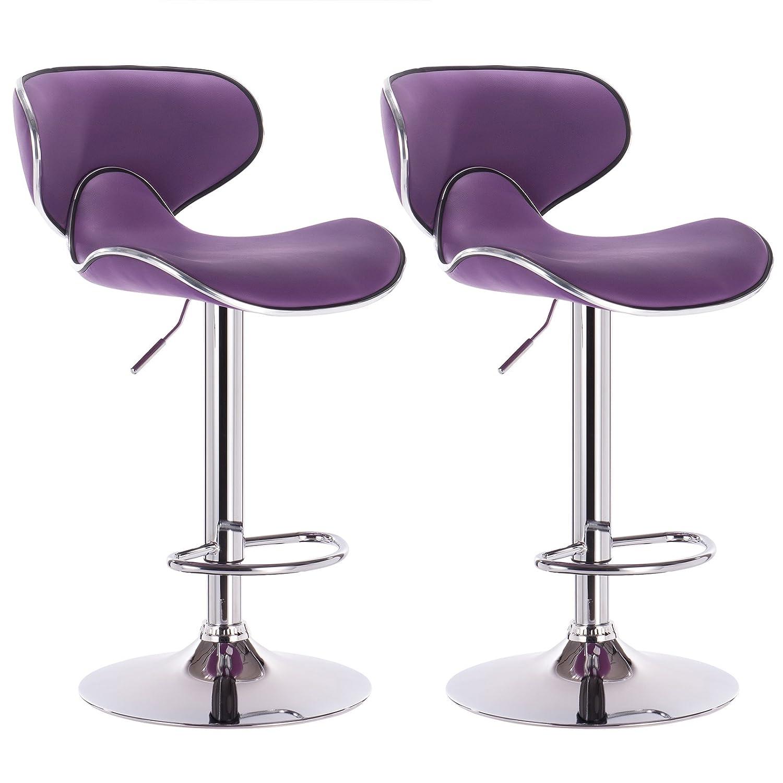 Amazon com woltu furniture bar stool swivel purple bonded leather adjustable hydraulic barstools work stools kitchen stools set of 2 kitchen dining