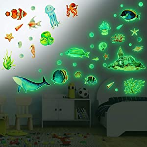 HOWAF See Animal Wall Stickers for Children Nursery Bedroom, Glow In The Dark Underwater Stickers for Boys Girls Living Room Bedroom Wall Decals, Removable Vinyl Wall Stickers for Kids Room Decoration