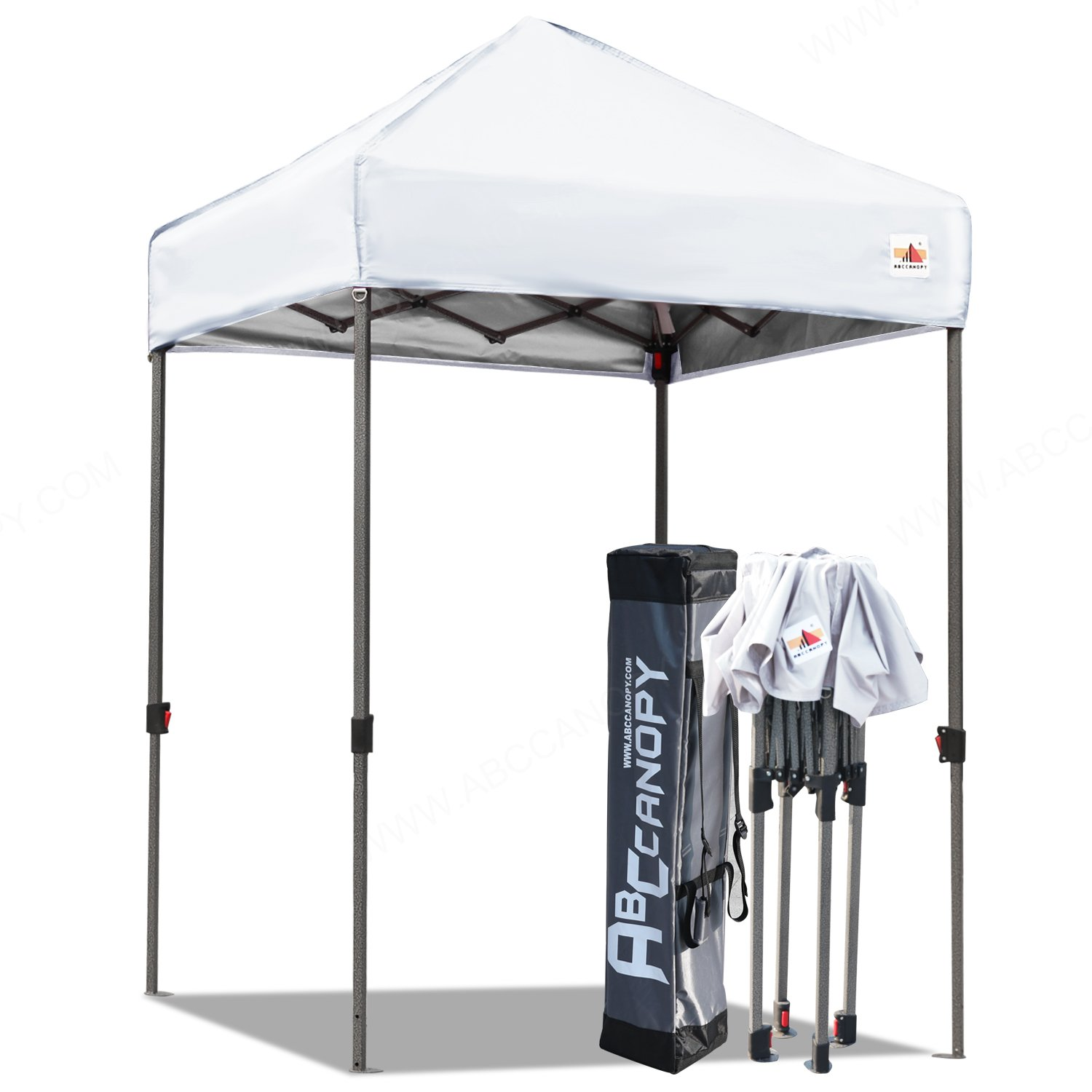ABCCANOPY Pop Up Canopy 5'x5' Portable Canopy Tent Bonus Carry Bag and Tent Stakes (White-1)