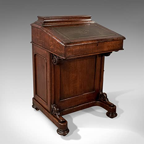 London Fine Antiques Victoriano Antiguo Davenport, Escritorio, Mesa de Roble Inglés Circa 1870
