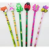 6 Cute Animal Eraser Topper Pencils Girl Boy Stationery School Gift Stocking Party Bag Filler Present Rubber Fun